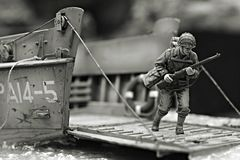 First Marine. In Iwo Jima beach WW2 - plastic model 1:72 scale - extremely closeup Royalty Free Stock Photo