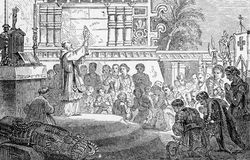 First Mass. The Mexicans swap one form of idolatry for another as a Catholic Priest performs the first Mass in the Temples of Yucatan, 1519. From an engraving in Stock Photos