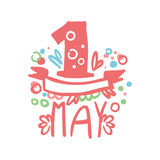 First May, International labor day logo template original design.. Spring holidays hand drawn vector Illustration on pink colors on a white background Royalty Free Stock Photo