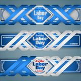 First May, International Labor day, web banners. Web banners, design background with texts for celebration of First May International Labor day; Vector Royalty Free Stock Images