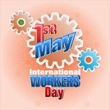 First May International workers day, celebration. Holidays, design background with 3d texts on gear for celebration of First May International workers day Royalty Free Stock Photography