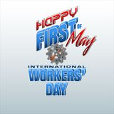 First May, International Workers` day. Holidays, design background with 3d texts, hammer and wrench on gear for celebration of First May International Workers` Stock Photo
