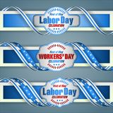 First May, International Workers` day, web banners. Web banners, design background with texts for celebration of First May International Labor day/Workers` day Stock Photos