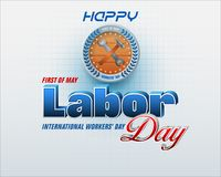 First May, Labor day celebration. Holidays, design background with 3d texts, hammer and wrench on wood texture for celebration of First May International Labor Royalty Free Stock Photos
