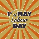 First of may - labour day - lettering in retro style. Three color inscription on Labor day 1st may on radial beams background, cane be used for greeting card Royalty Free Stock Images