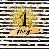 First of May text isolated on background with black stripes. Template for International Labor Day, invitation, greeting card, web, postcard. Vector Royalty Free Stock Image