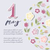 First of May text isolated on background with flowers. Template for International Labor Day, invitation, greeting card, web, postcard. Vector illustration Stock Image