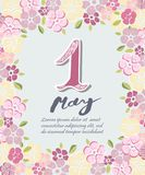 First of May text isolated on background with flowers. Template for International Labor Day, invitation, greeting card, web, postcard Royalty Free Stock Photo
