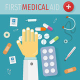 First Medical Aid Banner. Hospital Equipment Stock Images