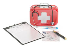 First Medical Aid and Diagnostic concept, 3D rendering. On white background Stock Photography