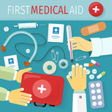 First Medical Aid Kit Design Flat Stock Photo