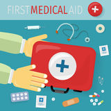 First Medical Aid kit and its Content. Equipment. First medical aid kit and its content. Thermometer pills drugs stethoscope plaster safety pins syringe Stock Image