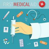 First Medical Aid Set of Icons. Health Equipment Royalty Free Stock Photography