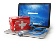 First medical aid or technical support concept. Laptop with firs. T aid kit and stethoscope isolated on white. 3d illustration Royalty Free Stock Photography