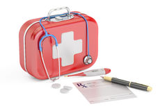 First Medical Aid and Treatment concept, 3D rendering. First Medical Aid and Treatment concept Stock Images