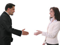 First meeting. Businesspeople  at shaking hands each other Stock Photos