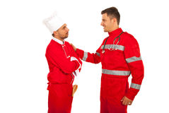 First meeting of paramedic and chef Stock Photo