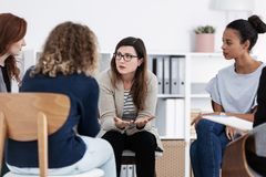 First meeting of Women`s issues support meeting, group therapy concept. First meeting of Women`s issues support group meeting, group therapy concept royalty free stock image