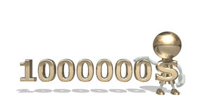 First million dollars. Isolated 3D character on a white background Royalty Free Stock Image