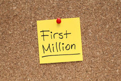 First Million. Note on cork Royalty Free Stock Photos
