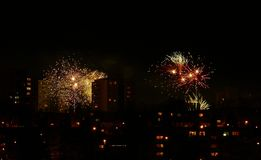 New year fireworks 1. First moments of new year 2018 Royalty Free Stock Photo