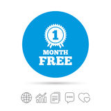 First month free sign icon. Special offer symbol. Royalty Free Stock Image