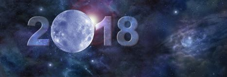First moon in 2018 Website Header. Deep space banner with a blue moon replacing  the zero in 2018 and plenty of copy space on right side Stock Photos