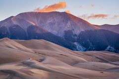 Great Sand Dunes National Park at dawn. First morning light - Great Sand Dunes National Park and Preserve in Colorado Stock Images