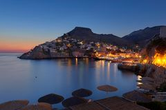 First morning light at Hydra island stock photo