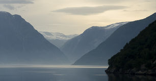First morninglight in the fjord Stock Image