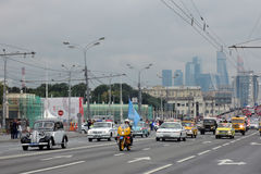 First Moscow Parade of City Transport. Modern and retro cars Royalty Free Stock Image