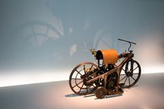 The first motorcycle 1885 stock image