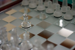 First move. Chess scene. Chess macro. Focus on Pawn stock photos