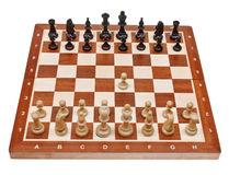 First move pawn on chess board Stock Photo