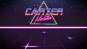 First name Carter in synthwave style. Chrome first name Carter with neokiller subtitle in synthwave retro style with triangle in blue violet and black colors stock illustration