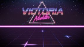 first name Victoria in synthwave style stock illustration