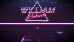 first name William in synthwave style stock illustration
