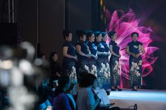 Contestant-Female cheongsam show. The first 2018 Nanchang women`s fashion cheongsam exhibition held in Nanchang is sponsored by Yilin culture communication Stock Image