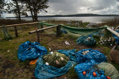 First nations fishery. Gill nets drying in sun. Royalty Free Stock Photos
