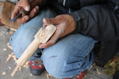 BC Totem Pole Carver Stock Images