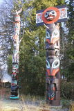 First Nations Totem Pole. Spirits, creatures and symbols embelish the creative culture of First Nations People on Canada's west coast Stock Photography