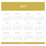 First. 2015 new year European calendar. vector daily organizer template Royalty Free Stock Photo
