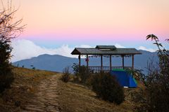 Sunset at the camp, Thimpu, Bhutan royalty free stock image