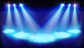 First night on theater stage. Vector illustration. Illuminated stage during first night in the theater. Vector illustration Stock Photography
