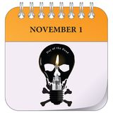 First of November - Day of the Dead. The first of November is Day of the Dead. Calendar page for the event Stock Photo