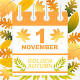 First November golden Autumn Background. Calendar sheet Royalty Free Stock Photos