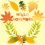 First November hello Autumn Background. Hello novemder!  Colored autumn leaves. Sketch, design elements. Vector illustration Stock Photography