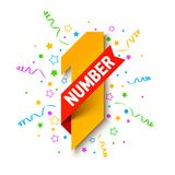 First Number. First winner, champion. Number one illustration with red ribbon, confetti and party streamers Stock Images