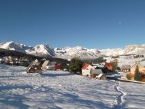 The Snow covered Durmitor and the Žabljak Stock Images