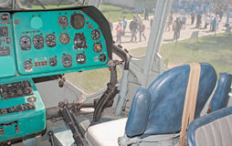 First officer's seat in Mil V-12 helicopter. MONINO, RU - MAY 9: first officer's seat in Mil V-12, the largest helicopter in the world demonstrated in the Royalty Free Stock Photos